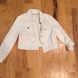 White cropped denim jacket